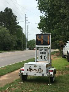 The Precinct 67 Speed Trailer set up on Cottage Hill Road.